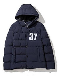 Men's Regular Padded Coat,Simple Going out Solid-Cotton Cotton Long Sleeve Hooded Blue / Black / Brown