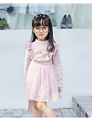 Girl's Casual/Daily Solid Dress,Cotton / Rayon Winter / Spring / Fall Long Sleeve