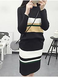 Damen Lang Strickjacke-Ausgehen Lässig/Alltäglich Anspruchsvoll Gestreift Schwarz Grau V-Ausschnitt Langarm Baumwolle Polyester Herbst