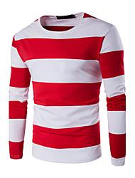Hombre Simple Casual/Diario / Deportes / Tallas Grandes Otoño / Invierno Camiseta,Escote Redondo A Rayas / Bloques Manga Larga Algodón