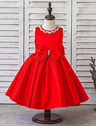 Princess Knee-length Flower Girl Dress - Satin / Tulle Sleeveless Jewel with Bow(s) / Crystal Detailing