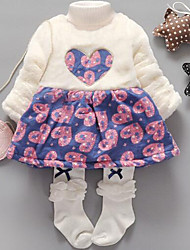 Girl's Casual/Daily Floral Dress,Cotton Spring / Fall Long Sleeve