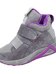 Women's Boots Fall Winter Comfort PU Casual Low Heel Magic Tape Black Gray