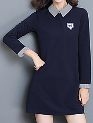 Women's Plus Size / Going out / Casual/Daily Simple / Street chic Fall / Winter T-shirtPatchwork Shirt Collar Long Sleeve Navy Blue
