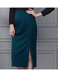 Women's Bodycon Solid Skirts,Casual/Daily Low Rise Midi Zipper Cotton Micro-elastic Fall