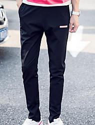 Masculino Solto Chinos Calças-Cor Única Casual Simples Cintura Alta Com Cordão Algodão Micro-Elástico Outono / Inverno