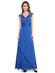 Lanting Bride® Fourreau / Colonne Robe de Mère de Mariée  - Brille & Scintille Longueur Sol Sans Manches stretch en mousseline de soie  -