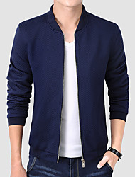 Men's Plus Size / Casual/Daily / Work Simple Jackets,Solid Stand Long Sleeve Fall / Winter Multi-color Cotton Thick