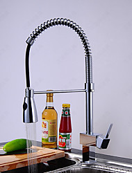 Deck Mounted Pre Rinse / Pullout Spray with Ceramic Valve Single Handle One Hole for Chrome , Kitchen