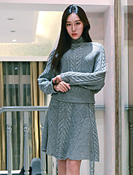 I LOVE KNITTING Women's Casual/Daily Simple Fall Set Skirt SuitsSolid Turtleneck Long Sleeve Gray Wool / Cotton