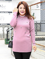 Women's Casual/Daily Plus Size Simple Regular Pullover,Solid Pink Gray Round Neck Long Sleeve Polyester Nylon Fall Winter Medium