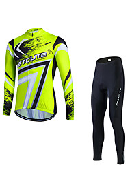 Cycling Jacket with Pants Men's Long Sleeve Bike Clothing SuitsThermal / Warm Windproof Fleece Lining Reflective Strips