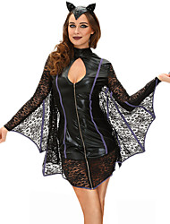 Disfraces de Cosplay Vampiros Festival/Celebración Traje de Halloween Negro Un Color Vestido / Para la Cabeza Halloween / Carnaval Mujer