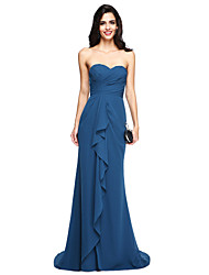 2017 Lanting Bride® Sweep / Brush Train Chiffon Elegant Bridesmaid Dress - Sweetheart with Ruffles