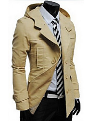 Men's Casual/Daily Simple Jackets,Solid Shirt Collar Long Sleeve All Seasons Black / Brown / Yellow Faux Fur Medium
