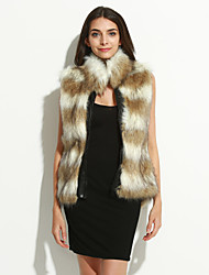 Mulheres Casaco de Pelo Casual Moda de Rua Inverno,Patchwork Marrom Pêlo Sintético / Poliuretano Colarinho Chinês-Sem Manga Grossa