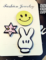 1 Set Cute Hello Smile Rabbit Pin Brooch Set Fashion Jewelry for Men/Women(Random Style)