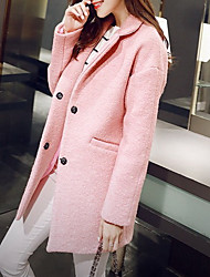 Women's Casual/Daily Simple Coat,Solid Shirt Collar Long Sleeve Pink / White / Gray Wool