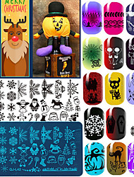 10pcs Christmas Theme Nail Halloween Art Stamp Lace DIY Nail Christma Printing Blue FilmTemplate Image Plate Born Pretty Nail Stamping Plates