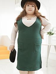 Damen Lose Kleid-Lässig/Alltäglich / Übergröße Einfach Solide V-Ausschnitt Knielang Ärmellos Blau / Grün Wolle / Polyester HerbstMittlere