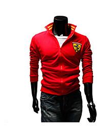 Normal Hoodies Hommes Décontracté / Quotidien / Sportif simple / Actif,Couleur Pleine Rouge / Noir Col en V Manches Longues Coton Automne