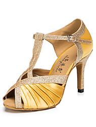 Chaussures de danse(Jaune / Léopard) -Personnalisables-Talon Bottier-Cuir-Latine / Jazz / Baskets de Danse / Moderne