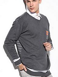 Herren Standard Pullover-Lässig/Alltäglich Einfach Solide Gestreift Blau Grau V-Ausschnitt Langarm Baumwolle Frühling Herbst Mittel