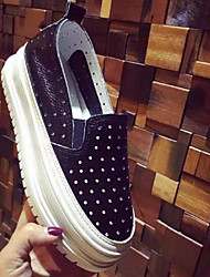 Women's Loafers & Slip-Ons Creepers Cowhide Casual Black White