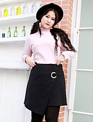 Damen Übergrössen Röcke,A-Linie einfarbigLässig/Alltäglich Einfach Mittlere Hüfthöhe Über dem Knie Knopf Baumwolle / Polyester