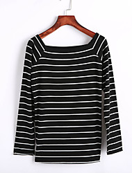 Women's Casual/Daily Street chic Spring / Fall T-shirt,Striped Boat Neck Long Sleeve White / Black Cotton Medium