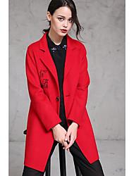 Feminino Casaco Casual Simples Outono / Inverno,Sólido Rosa / Vermelho Lã Colarinho de Camisa-Manga Longa Média