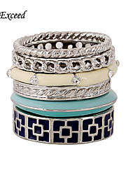 Brand Newest 6Pcs/Set Women Silver Plated Enamel Alloy Rings Sets Trendy Style Multicolor Elegant Simple Jewelry Accessories RG150184