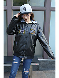 Women's Casual/Daily Simple Leather Jackets,Solid Long Sleeve Fall / Winter Red / Black PU Medium