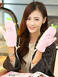 Women's Green Bean Sprouts Fingertips Wrist Length Rope Cute Winter Gloves