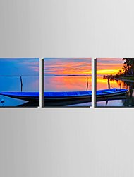 E-HOME Stretched Canvas Art The Ship in The Sunset Decoration Painting  Set of 3