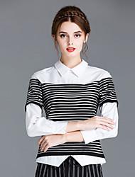 ZIYI Women's Casual/Daily Simple ShirtStriped Shirt Collar Long Sleeve White Cotton