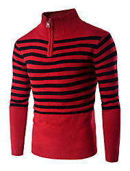 Men's Casual/Daily Formal Simple Active Regular Pullover,Striped Red Shirt Collar Long Sleeve Cotton Fall Winter Medium Micro-elastic