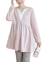 Maternity Casual/Daily Simple Color Block V Neck Long Sleeve  Spring / Fall Long Loose T-shirt