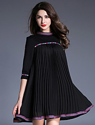 Women's Casual/Daily Simple A Line Dress,Polka Dot Round Neck Above Knee ¾ Sleeve Black Cotton / Polyester Fall Low Rise Micro-elastic
