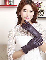 Women's PU Wrist Length Fingertips Cute/ Party/ Casual Winter Fashion Warm Gloves