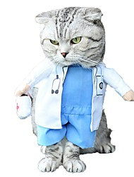 Cat Dog Costume Clothes/Jumpsuit Dog Clothes Winter Spring/Fall Characters Cute Cosplay White