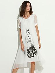 vintage / cópia simples das mulheres plus size vestido / swing, ficar de roupa na altura do joelho