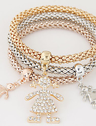 Women Fashion Simple Rhinestones Cute Girl Charm Bracelet Gift