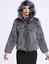 BF-Fur Style Women's Casual/Daily Sophisticated Fur CoatSolid Hooded Long Sleeve Winter Gray Fox Fur