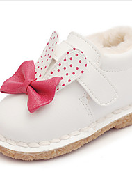 Girl's Baby Flats Fall Winter Comfort Cowhide Outdoor Casual Flat Heel Bowknot Pink Red White Walking