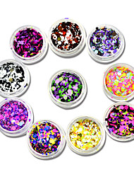 10 bottles Nail Art Round Paillette Sets New Hot 1-3mm Thin Slice DIY Tips Sticker for Polish Gel Nail Glitter Sparkly A10
