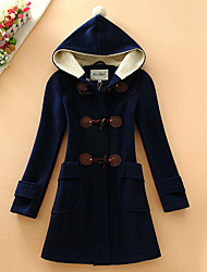 Women's Casual/Daily Simple Coat,Solid Hooded Long Sleeve Fall / Winter Blue / Red / Beige Wool Medium
