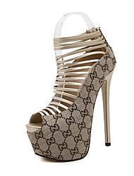 Damen-High Heels-Kleid-Kunstleder-Stöckelabsatz Plateau-Plateau-Schwarz Gold