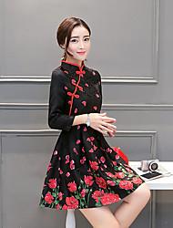 Feminino Rodado Vestido, Casual Vintage Jacquard Colarinho Chinês Acima do Joelho Manga ¾ Preto Raiom Outono / Inverno Cintura MédiaSem
