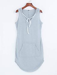 Robe Aux femmes Gaine simple / Actif,Couleur Pleine Capuche Mini Polyester